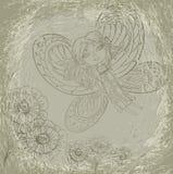 Вычисляйте девушку в изображении бабочки Стоковое Изображение RF
