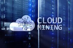 Вычислять облака, данные или cryptocurrency ( Bitcoin, Ethereum) минировать в центре данных Предпосылка комнаты сервера стоковая фотография rf
