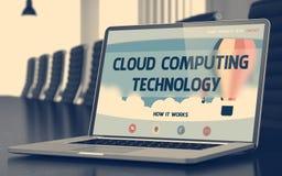 Вычислительная технология облака - на экране компьтер-книжки closeup 3d иллюстрация вектора