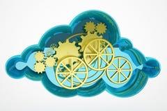 Вычислять облака и концепция колеса Стоковые Изображения RF