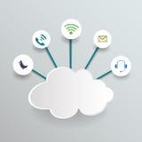 Вычислять облака чистого листа бумаги Социальные сети Стоковая Фотография RF