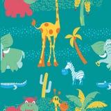вышесказанного картина безшовная Иллюстрация вектора в стиле шаржа африканские животные иллюстрация вектора