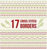 Вышивка вышивки крестиком - комплект границ Стоковое Изображение
