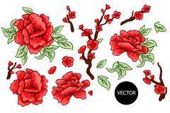 Вышивка Вышитые элементы дизайна при изолированные цветки и листья Сакуры цветет красный цвет Стоковое Фото
