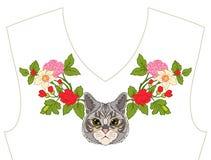 Вышивка для neckline, воротника для футболки, блузки, рубашки Patt Стоковые Фото