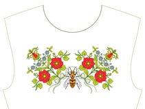 Вышивка для neckline, воротника для футболки, блузки, рубашки Patt Стоковая Фотография RF