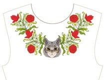 Вышивка для neckline, воротника для футболки, блузки, рубашки Patt Стоковые Изображения