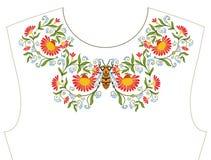 Вышивка для neckline, воротника для футболки, блузки, рубашки Patt Стоковая Фотография