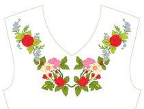 Вышивка для neckline, воротника для футболки, блузки, рубашки Patt Стоковые Изображения RF