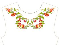 Вышивка для neckline, воротника для футболки, блузки, рубашки Patt Стоковое Изображение RF