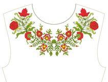 Вышивка для neckline, воротника для футболки, блузки, рубашки Patt Стоковое Изображение