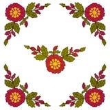 Вышивка крестиком углового элемента красные цветки на белой предпосылке r иллюстрация вектора