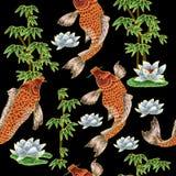 Вышивка с японскими карпом и цветками Стоковое Фото