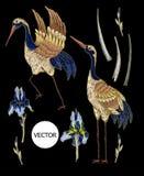 вышивка Цапля-крана с цветками радужки Вышитая мода вектора Стоковое Изображение