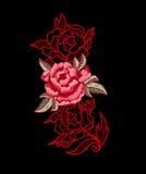 Вышивка цветка пиона с шнурком Стоковые Фото