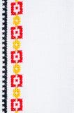 Вышивка элемента Handmade перекрестным стежком Предпосылка с геометрическим орнаментом Стоковое фото RF