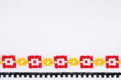 Вышивка элемента Handmade перекрестным стежком Предпосылка с геометрическим орнаментом Стоковые Изображения