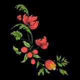 Вышивка для линии воротника Флористический орнамент в винтажном стиле Стоковое Изображение