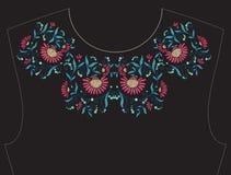 Вышивка для neckline, воротника для футболки, блузки, рубашки Стоковое Изображение RF