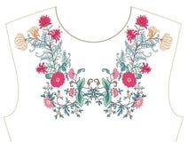 Вышивка для neckline, воротника для футболки, блузки, рубашки Стоковые Фотографии RF