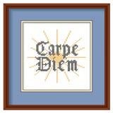 Вышивка, Carpe Diem, перекрестный стежок, деревянная картинная рамка Стоковое Изображение
