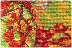 Вышивка, handmade стежки needlework Фото сравнения передней и задней стороны вышивки Часть вышивки d Стоковые Фото