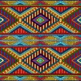 Вышитая безшовная геометрическая картина Орнамент для ковра Стоковая Фотография