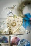 вышитое сердце золота Стоковые Фото