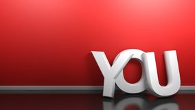 ВЫ белизна пишете на красной стене - переводе 3D иллюстрация вектора