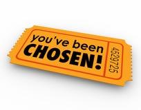 Вы были выбраны одному выигрывая выбору билета удачливому выбранному Стоковая Фотография