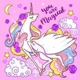 Вы волшебный красивый белый единорог на розовой предпосылке вектор бесплатная иллюстрация