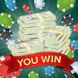 Вы выигрываете Вектор предпосылки победителя Играя в азартные игры иллюстрация джэкпота обломоков покера удачливая Большое знамя  иллюстрация вектора