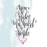 Вы делаете мое сердце усмехнуться - вручите плакат литерности на голубом st щетки иллюстрация вектора