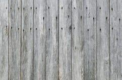 Выдержанная деревянная предпосылка siding амбара планки с ржавыми ногтями. Стоковое Изображение RF