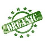 Выдержанные зеленым цветом круг и звезды штемпеля Orgainic раскрывают дизайн иллюстрация штока
