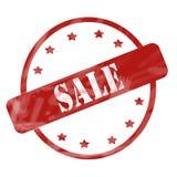 Выдержанные красным цветом круг и звезды штемпеля продажи бесплатная иллюстрация