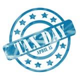 Выдержанные синью круги и звезды штемпеля 15-ое апреля дня налога иллюстрация штока