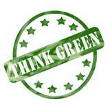 Выдержанный зеленый цвет рециркулирует круг и звезды штемпеля иллюстрация вектора