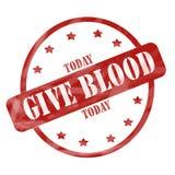 Выдержанный красный цвет дает кровь сегодня штемпелюет круг иллюстрация штока