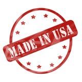 Выдержанный красный цвет сделанным в круге и звездах штемпеля США иллюстрация вектора