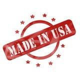 Выдержанный красный цвет сделанным в круге штемпеля США и звезды раскрывают дизайн иллюстрация вектора