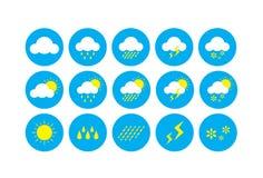 Выдержите значок, значки представляя символы связанные погодой Стоковые Фото
