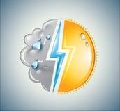 Выдержите смесь солнца, облака и удара молнии Стоковая Фотография RF