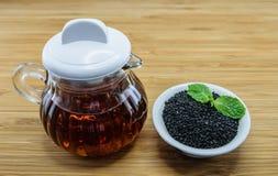 Выдержка масла сезама от черного сезама Стоковые Изображения
