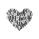 Вы делаете мое сердце усмехнуться рукописная цитата литерности каллиграфии иллюстрация вектора