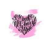 Вы делаете мое сердце усмехнуться рукописная цитата литерности каллиграфии иллюстрация штока