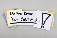 Вы знаете ваших клиентов стоковое изображение rf