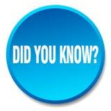 вы знать голубую круглую кнопку иллюстрация штока