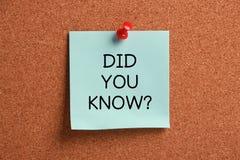 Вы знали? Стоковые Фото