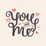 Вы и я романтичная рука написанная литерность Стоковое Изображение RF